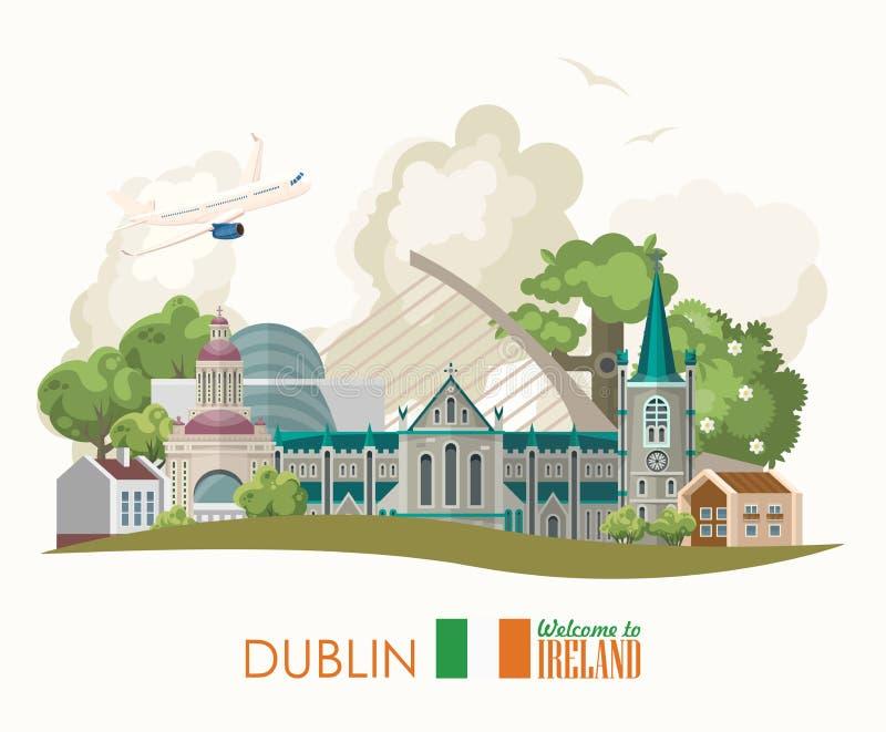 Dublin City Tarjeta plana con las señales, castillo irlandés, campos verdes del diseño del vector de Irlanda libre illustration