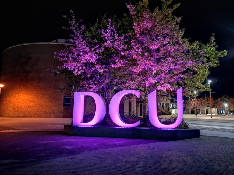 Dublin city university night lights vibe royalty free stock photo