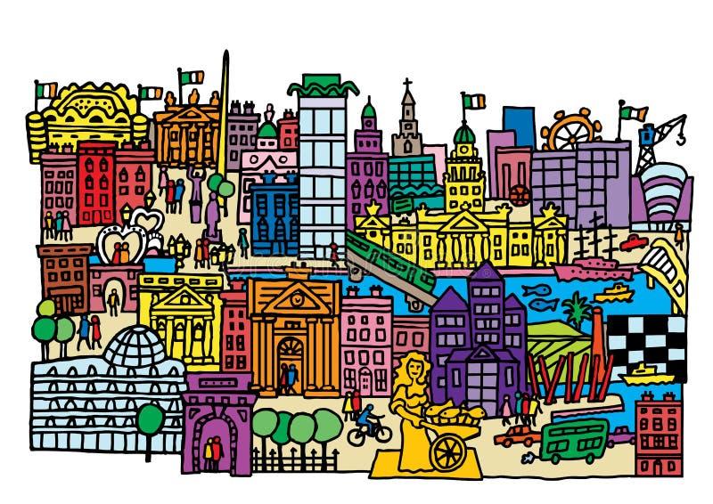 Dublin Cityscape ilustração royalty free
