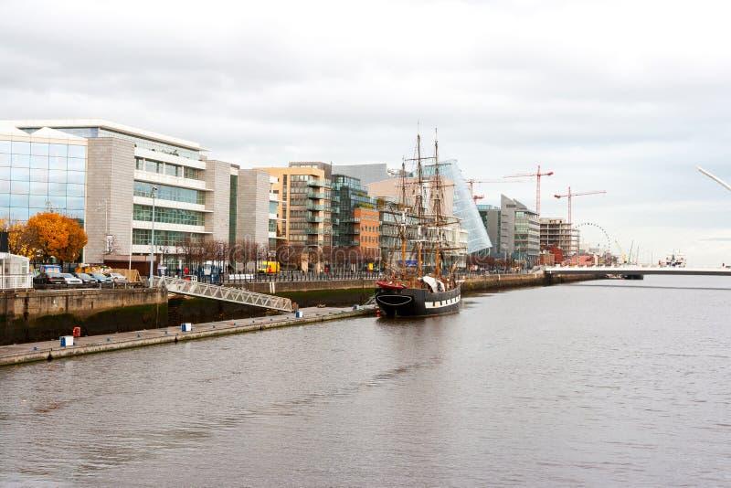 Dublin Docklands. Ireland. Docklands and river Liffey. Dublin, Republic of Ireland stock photo