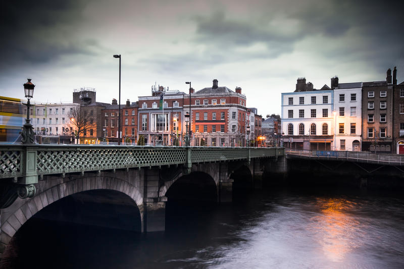 Dublin Grattan Bridge. Vintage toned image of Grattan Bridge over the River Liffey in Dublin Ireland royalty free stock photos