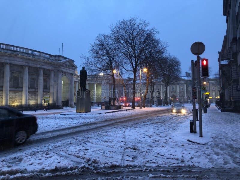 Dublin i vinter arkivbild