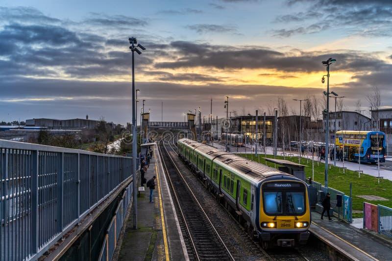 Dublin, Ireland – January 2019 3 types of public transport in Dublin, Ireland royalty free stock photography