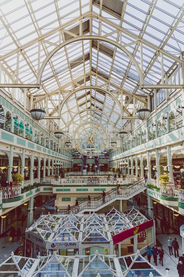 Wide-angle view of the interior of Stephen`s Green shopping cent royalty free stock images