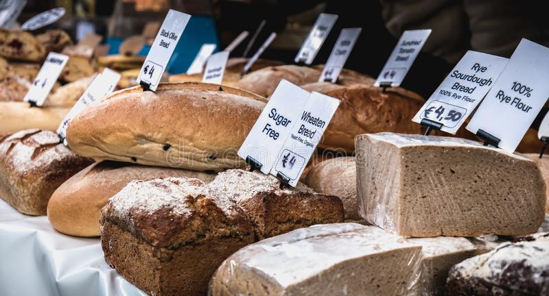 Stand of Irish bread, pastry and specialty vendor in the Temple Bar district in Dublin stock photo