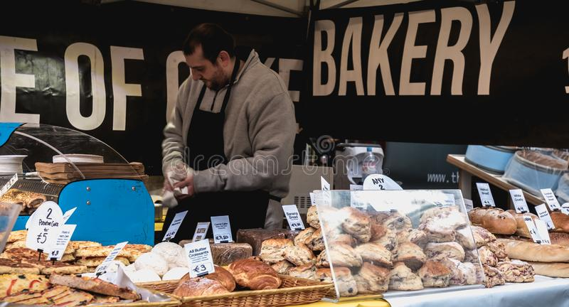 Stand of Irish bread, pastry and specialty vendor in the Temple Bar district in Dublin stock photos