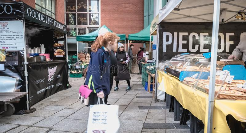 Stand of Irish bread, pastry and specialty vendor in the Temple Bar district in Dublin stock images