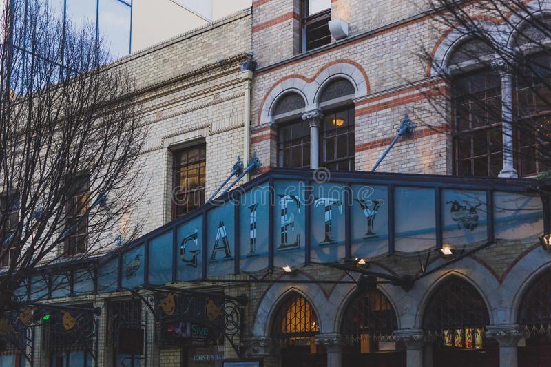 Exterior of the Gaiety theatre in King Street South in Dublin ci. DUBLIN, IRELAND - February 17th, 2018: exterior of the Gaiety theatre in King Street South in stock photo