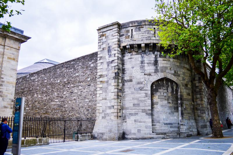 Stone Wall of Kilmainham, Gaol, the Famous Historical Prison in Dublin royalty free stock images