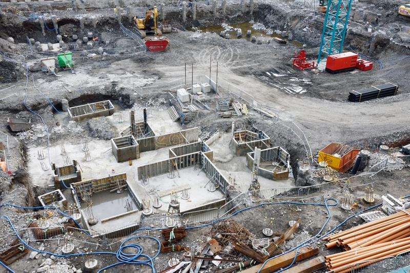 Construction Site in the Downtown District of Dublin Ireland. Dublin, Ireland - June 13, 2017: Downtown urban revitalization project in the metropolitan area of royalty free stock photo