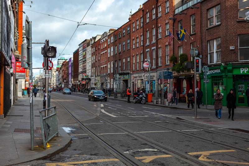 Dublin, Ireland – March 2019. Streets and buildings of historical city Dublin, capital of Ireland. Dublin, Ireland – March 2019. Streets and stock photo