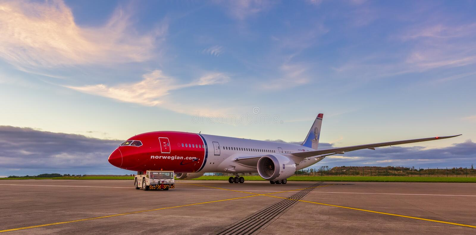 Norwegian in Dublin Airport, Norwegian Air Shuttle ASA stock photography