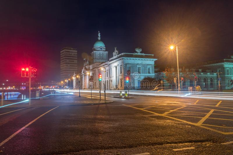 Street view of city center of Dublin with Custom House stock photo