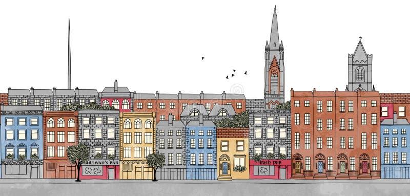 Dublin, Ireland - seamless banner of Dublin's skyline. Seamless banner of Dublin's skyline, hand drawn and digitally colored ink illustration vector illustration