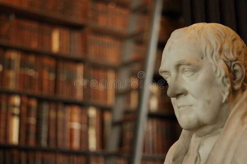 Old Library in Trinity College, Dublin. Sculpture. stock photos
