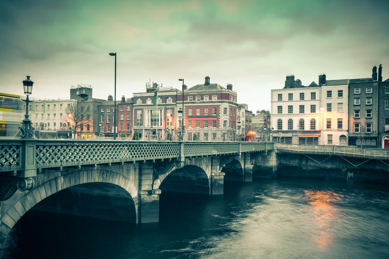 Dublin Ireland. Vintage style view of Dublin Ireland Grattan Bridge royalty free stock photos
