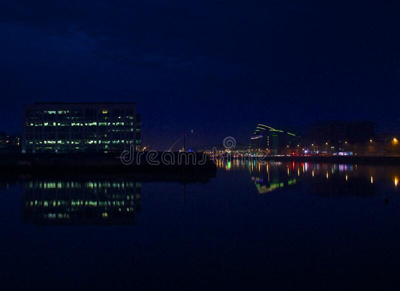 Dublin, Ireland waterfront at night stock photography