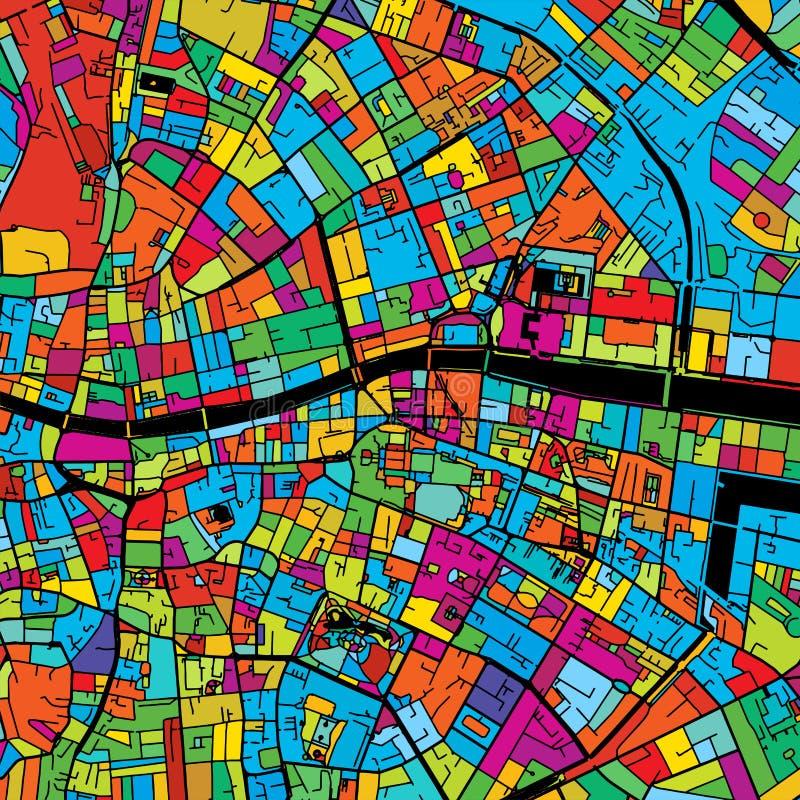 Dublin Irland, färgrik vektoröversikt på svart royaltyfri illustrationer