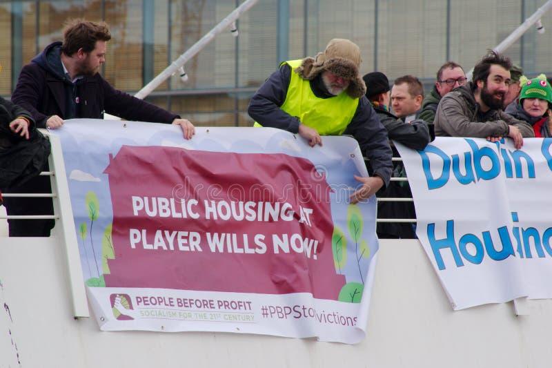 Dublin, Irlande - 9 mars 2019 : Protestation de crise de logement photographie stock