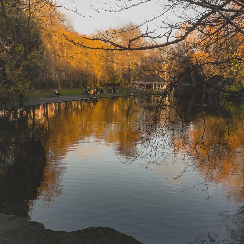 Dublin Lake på solnedgången royaltyfri foto