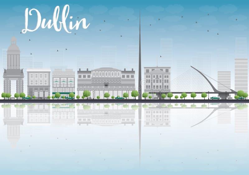 Dublin linia horyzontu z Popielatymi budynkami i niebieskim niebem, Irlandia ilustracja wektor