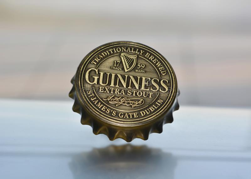 Dublin Nov 23 2018: Famous black Irish bottle top. Originated in the brewery of Arthur Guinness at St. James`s Gate brewery Dublin Ireland stock image