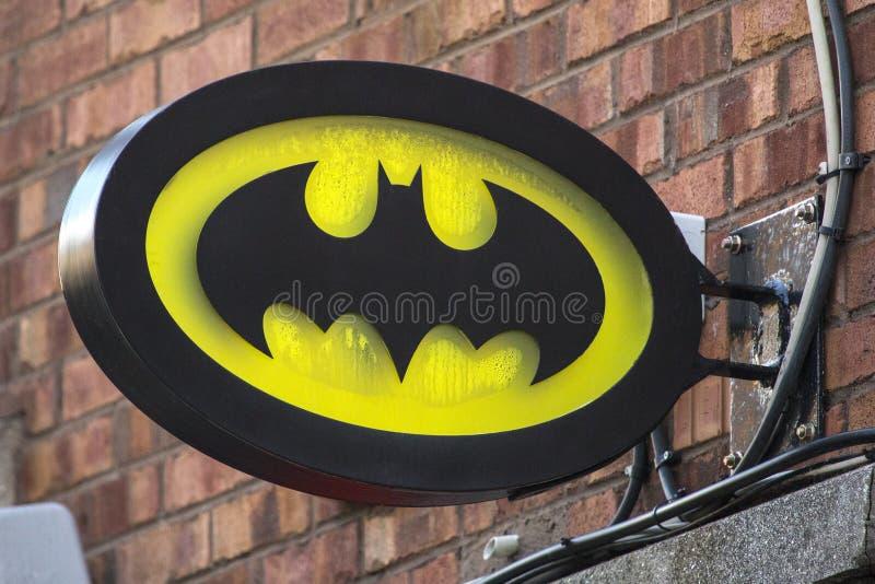 Batman Symbol. Dublin, Republic of Ireland - August 13th 2018: The Batman symbol above a shop in the city of Dublin in the Republic of Ireland royalty free stock photos