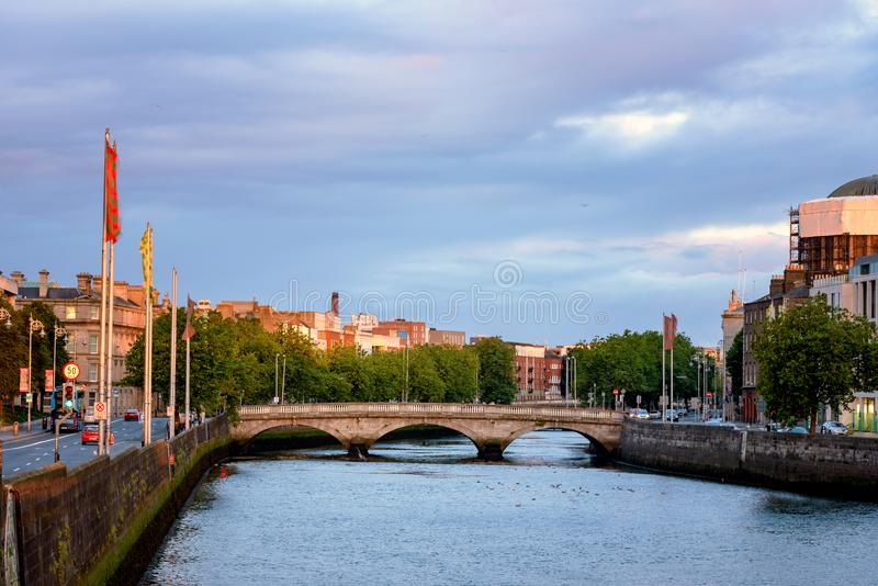 Dublin River Liffey Ireland. Grattan Bridge over the River Liffey in Dublin Ireland stock images