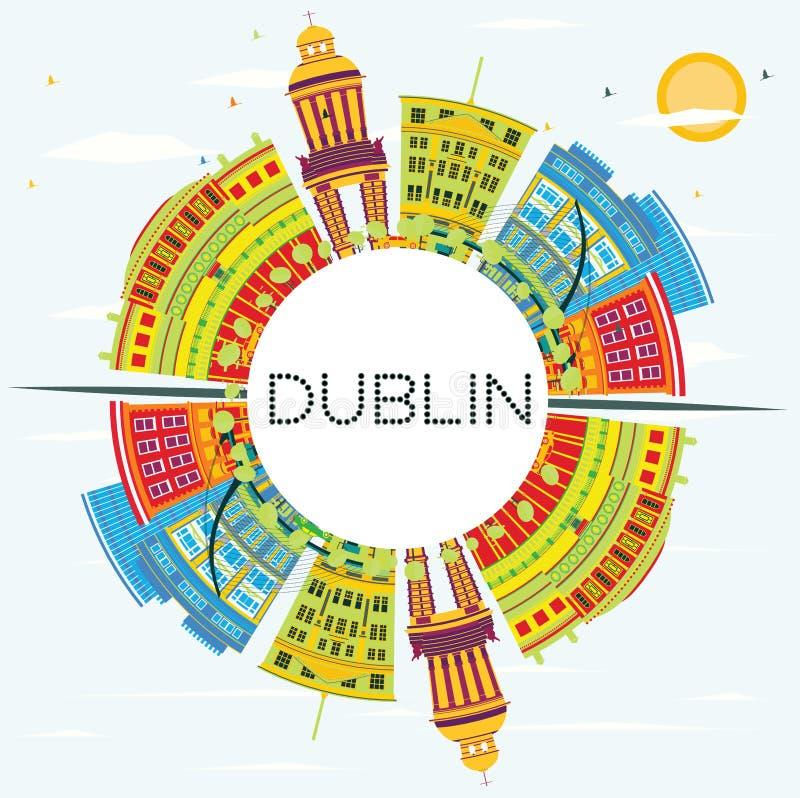 Dublin Skyline com construções da cor, o céu azul e o espaço da cópia ilustração do vetor