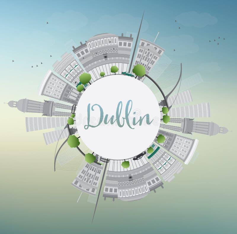 Dublin Skyline com Gray Buildings, o céu azul e o espaço da cópia ilustração royalty free
