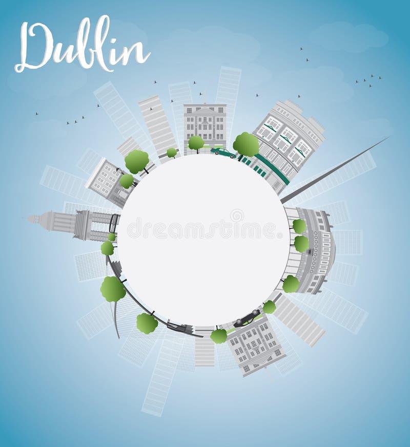 Dublin Skyline com Grey Buildings, o céu azul e o espaço da cópia ilustração do vetor