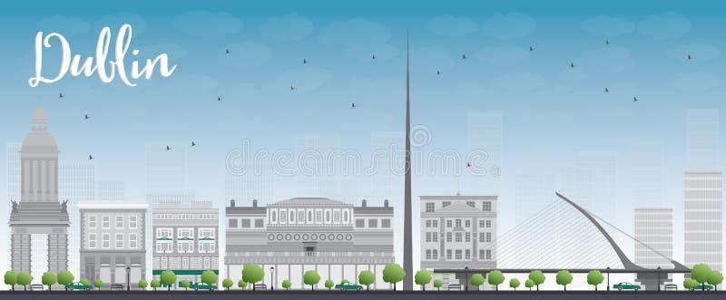 Dublin Skyline con Grey Buildings y el cielo azul, Irlanda stock de ilustración