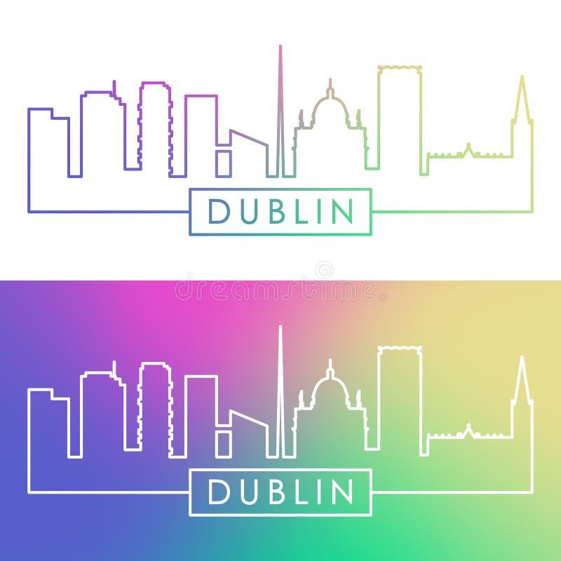 Dublin Skyline Estilo linear colorido ilustração stock
