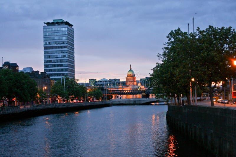 Dublin skyline with Siptu Tower in the evening, Ireland stock photos