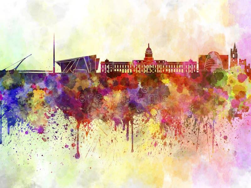 Dublin skyline in watercolor background stock illustration