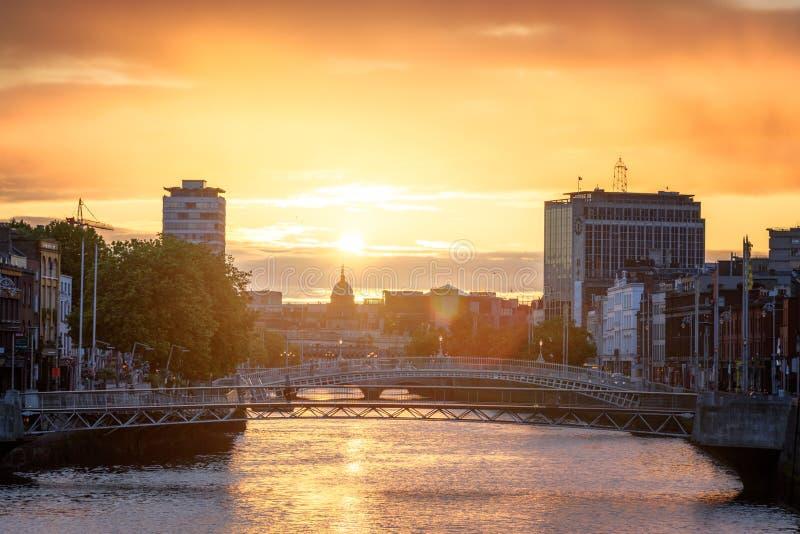 Dublin Sunset River Liffey stock foto