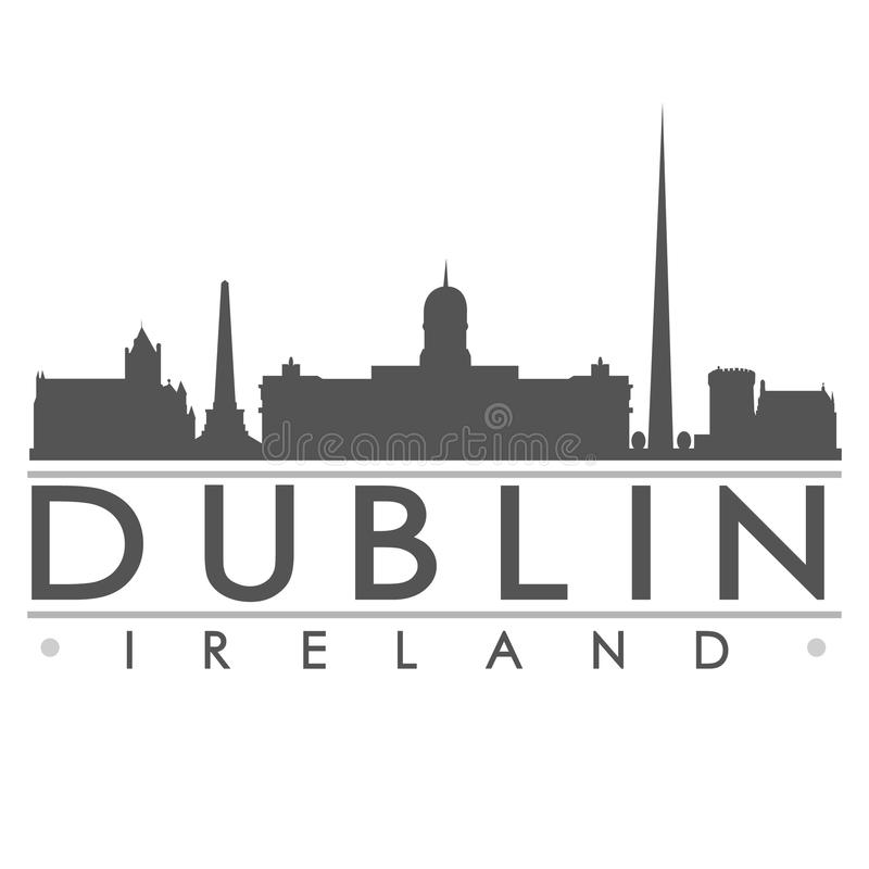 Dublin Sydney Silhouette Design City Vector konst stock illustrationer