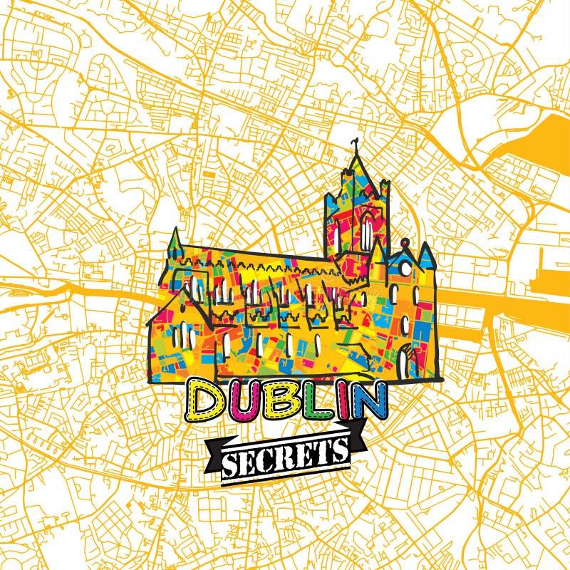 Dublin Travel Secrets Art Map ilustração stock