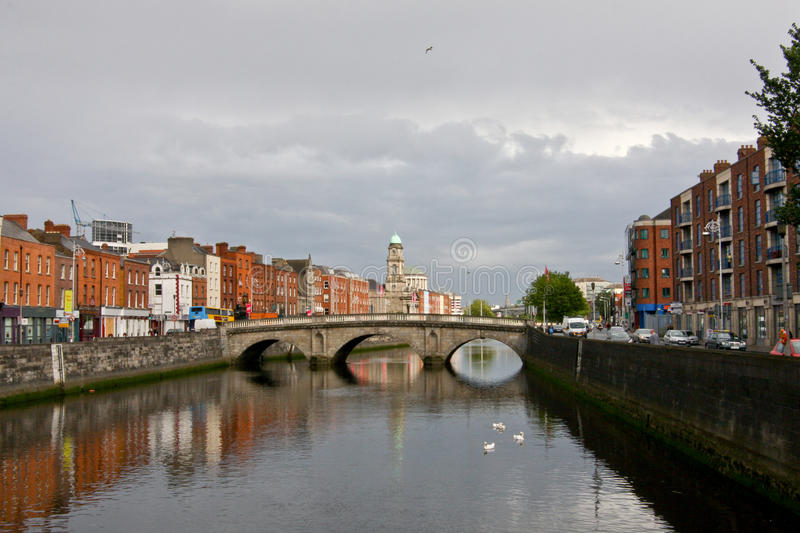 Dublin view with Liffey River, Ireland stock image