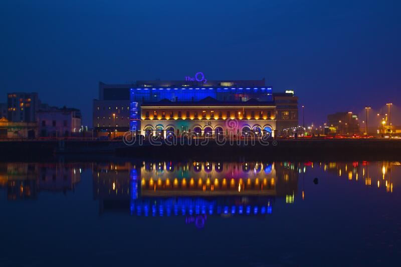 Dublin waterfront at night stock photography