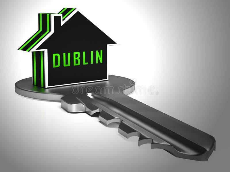 Dublinavdelningar Nycklar avbildning av Irish Condo Real Estate Buying - 3d Illustration stock illustrationer