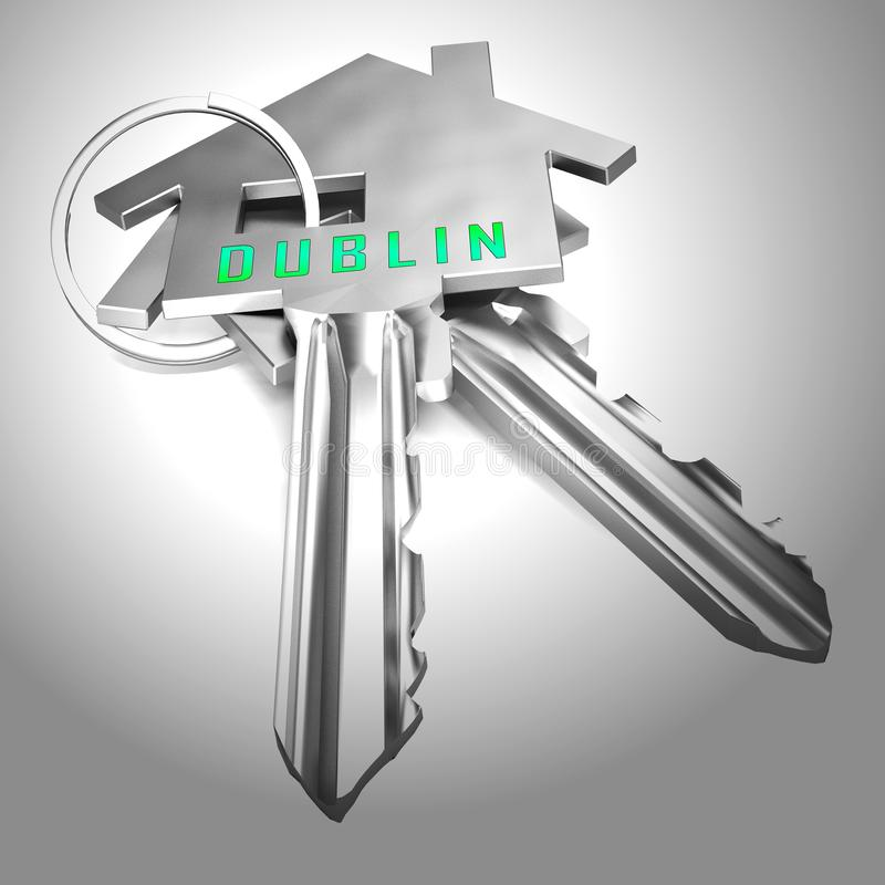 Dublins avdelningar visar irländska Condo Real Estate Buying - 3d Illustration stock illustrationer