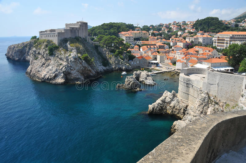 Dubrovnik. Fortifications clear sea and old port of the UNESCO listed Croatian city of Dubrovnik stock photos