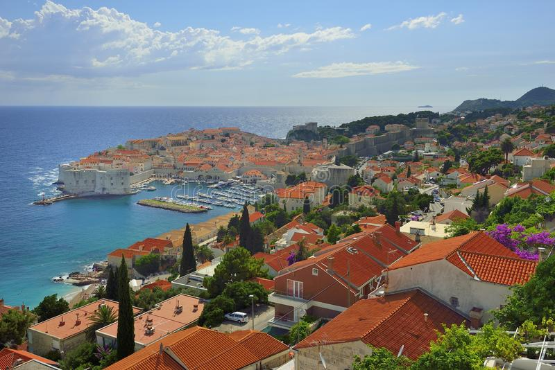 Dubrovnik. Adriatic sea and Dubrovnik.orange roof and blue sea are nice combination royalty free stock image