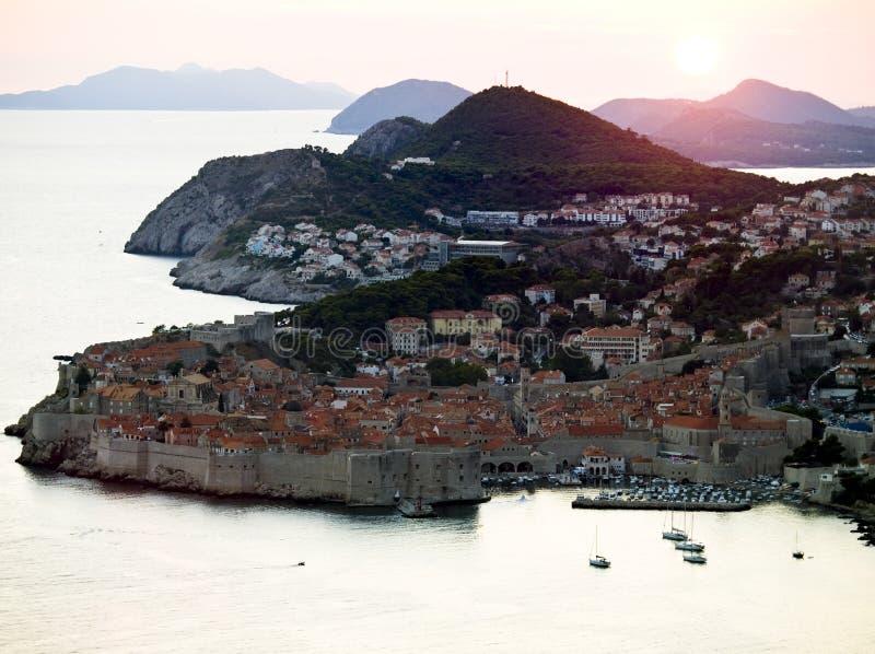 Dubrovnik al tramonto fotografia stock libera da diritti