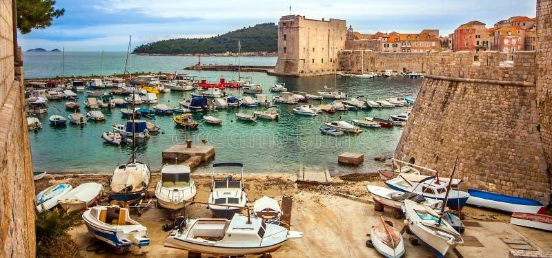 Dubrovnik, Chorwacja na Marzec 04, 2018 stary miasteczko widok obrazy stock