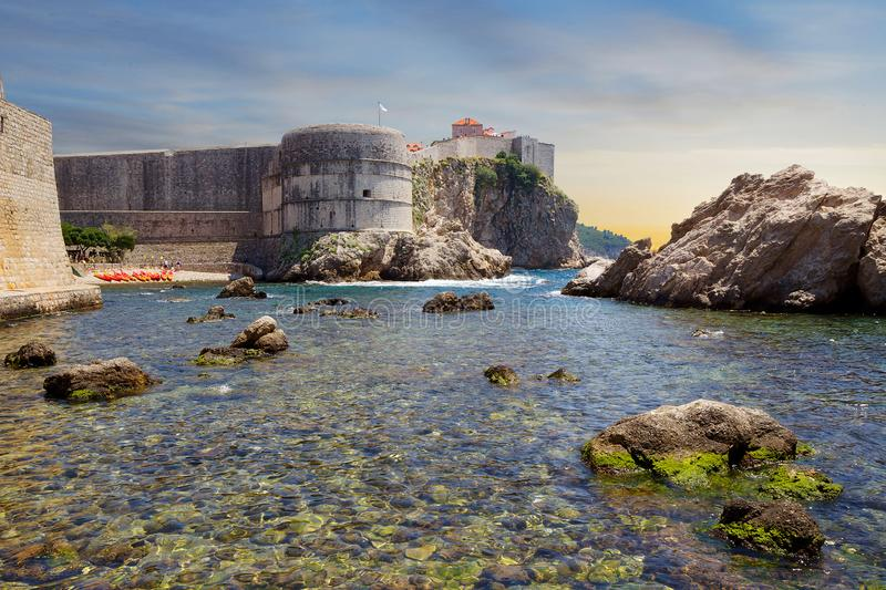 Dubrovnik city. Croatia. Fort Bokar. Fort Bokar or Fort Zvezdan in Dubrovnik – one of the most beautiful buildings of the defensive architecture of the royalty free stock images