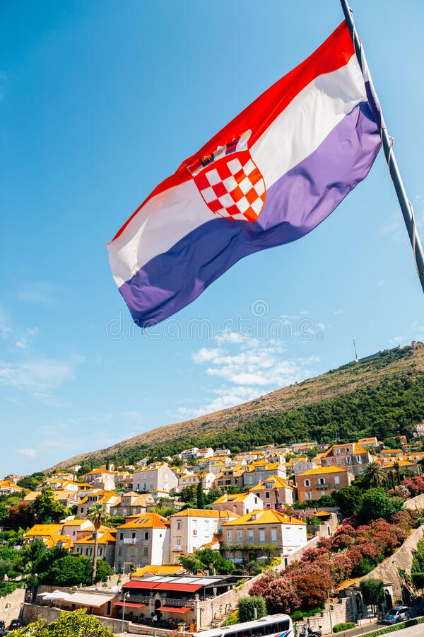 Dubrovnik city and national flag in Croatia. Europe stock image