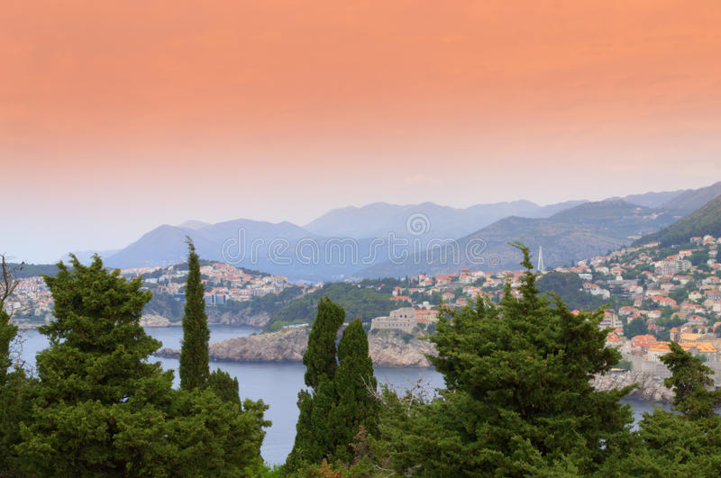 Dubrovnik city scenic view. Old city of Dubrovnik seen from Lokrum island.Dubrovnik is a Croatian city on the Adriatic Sea, in the region of Dalmatia. It is one stock photos