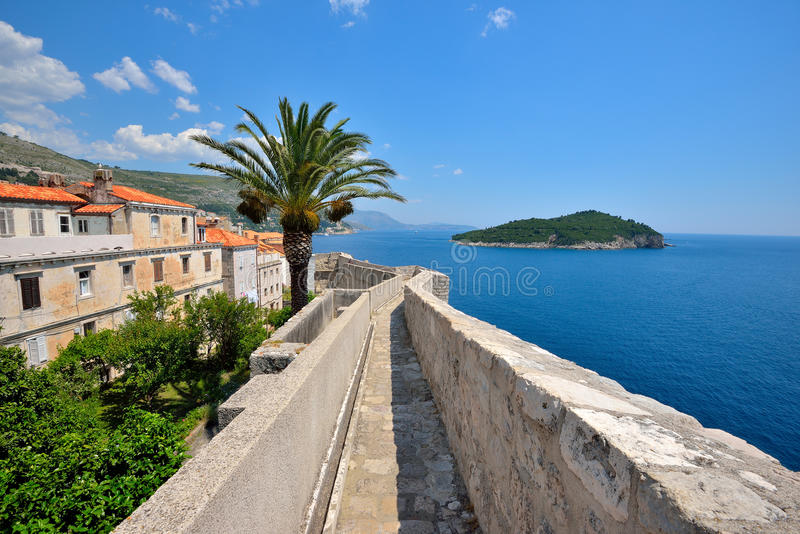 Dubrovnik city wall. Dubrovnik old city defensive wall stock photography